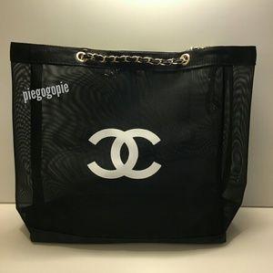 Authentic Chanel Black Nylon Mesh Tote Bag Gold